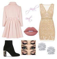 """pink and gold"" by bunkportbob ❤ liked on Polyvore featuring Nicole Miller, Lime Crime and Effy Jewelry"
