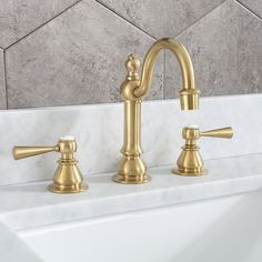 dCOR design High Arc Torch Widespread Bathroom Faucet with Drain Assembly Brass Bathroom Fixtures, Brass Bathroom Faucets, Gold Faucet, Widespread Bathroom Faucet, Bathroom Hardware, Dcor Design, Marble Mosaic, Master Bathroom, Attic Bathroom