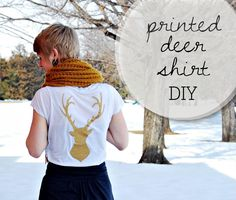 DIY printed deer shirt DIY clothes DIY Refashion. inspiration for cutting out felt and stiching on the back of in a blue thread.