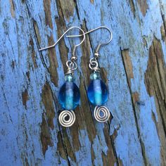 Silver Plated Turquoise Glass Beaded Earrings by zikkys on Etsy