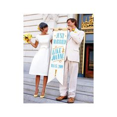 """""""Just Married"""" Banner - Casual Wedding Ideas - Real Weddings: You'll find charming, inventive, even silly ideas in these inspiring wedding photos. - MarthaStewartWeddings.com found on Polyvore"""