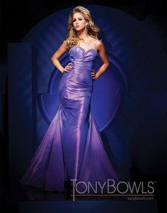 mermaid floor length sweetheart lavender taffeta dress by Tony Bowls