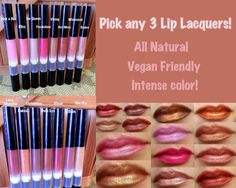 This listing is for a pick any 3 Lip Lacquers and get $3 off. Woot! ;) Put color choices in the notes to seller during purchase.  Introducing Addictive Cosmetics NEW Lip Lacquer Line! Lip Lacquers are a sheer blend of all natural ingredients that pack a powerful punch of long lasting color! Wear them wet or dry as seen in the last picture. They come in a pretty and sleek twist up tube with brush applicator tip. Just twist and paint those pretty lil puckers and feel good doing it knowing the…