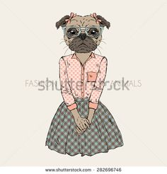 fashion animal illustration, anthropomorphic design, furry art, hand drawn illustration of pug doggy girl dressed up in hipster style
