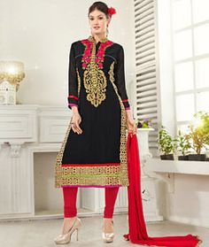 Buy Black Georgette Churidar Suit 75450 online at lowest price from huge…