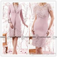 Vestidos De Noiva Pink Lace Knee Length Mother Of The Bride Dresses With Long…