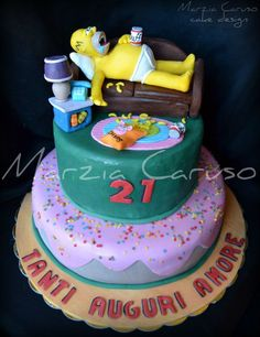 simpson cake The Simpsons, Bolo Simpsons, Simpsons Party, 40th Cake, Birthday Cakes For Men, Wedding Cake Boards, Rodjendanske Torte, Glaze For Cake, Character Cakes