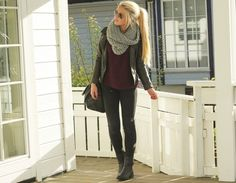 everything about this... esp. love the huge infinity scarf, pony tail and ankle boots