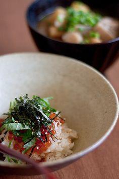 Japanese food: Salmon roe bowl イクラ丼