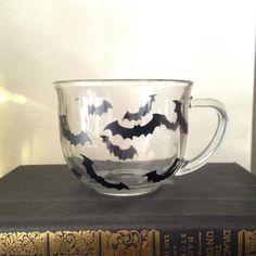 Halloween bat coffee mug clear coffee cup from SimplyGlassic on Etsy. Saved to Holiday fun. Halloween Mug, Halloween House, Goth Home Decor, Gothic House, Gothic Room, Gadgets, Cute Mugs, Mug Cup, Coffee Cups