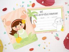 Mapje met 6 supermooie uitnodigingen voor een kinderfeestje! Op de achterkant kun je zelf de details van het feestje vermelden, en er is een klein plaatje van een meisje om in te kleuren. Inclusief 6 witte enveloppen.