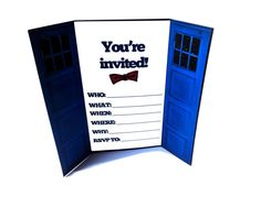 1 Doctor Who Inspired TARDIS Invitation Card, Blue Police Box Invite by Bohemian Bear