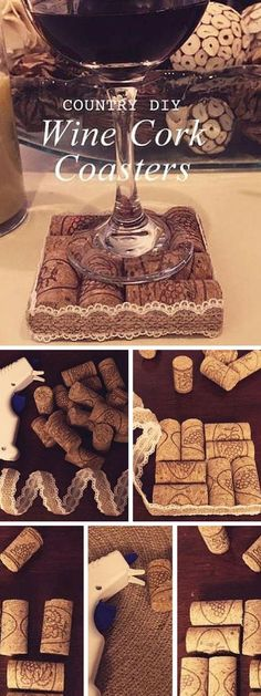 10 Clever DIY Home Decor Crafts with Actual Waste Materials Check out the tutorial: Wine Cork Coasters Wine Craft, Wine Cork Crafts, Wine Bottle Crafts, Crafts With Bottles, Crafts With Corks, Wine Cork Projects, Diy Projects, Sewing Projects, Diy Home Crafts
