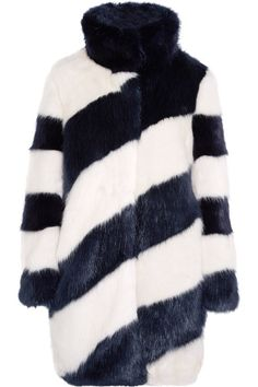Midnight-blue and white faux fur Concealed snap fastenings through front 61% modacrylic, 26% acrylic, 13% polyester; lining: 100% polyester Dry clean Imported