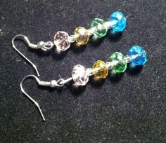 Stacked Rainbow Crystals Earrings by TripIntoLight on Etsy, $8.00