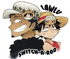 Por un accidente, Luffy y Law se cambian de cuerpo el uno con el otro… #romance Romance #amreading #books #wattpad