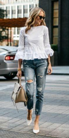 Amy Jackson + white cotton blend ruffle top + distressed jeans + leather bag + white pointed toe heels.  Top: Club Monaco, Jeans: BlankNYC, Heels: Zara, Handbag: Celine, Sunglasses: Karen Walker c/0, Watch: Larsson & Jennings. Spring Outfits