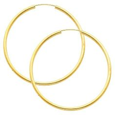 """14K Yellow Gold 2mm Thickness High Polished Large Endless Hoop Earrings (1.8"""" or 45mm Diameter) The World Jewelry Center. $143.00. High Polished Finish. Simply Elegant. Promptly Packaged with Free Gift Box and Gift Bag. Save 55%!"""