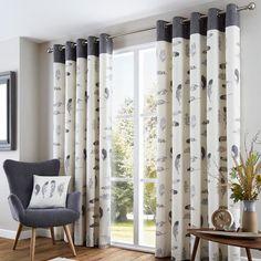 Idaho Feather Pattern Curtains, Stone – PASX UK