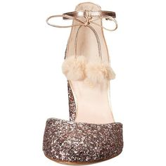 Kate Spade New York Abigail (Rose Gold Glitter/Metallic Nappa) Women's... ($328) ❤ liked on Polyvore featuring shoes, sandals, wrap sandals, embellished sandals, thick heel sandals, pom pom sandals and ankle wrap sandals