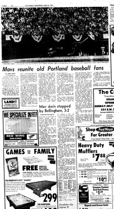 This is a little gallery of pictures from the Oregonian covering the Portland Mavericks' first games, in June 1973. Here, manager Hank Robinson cheers on the team at its home opener on Saturday, Ju...