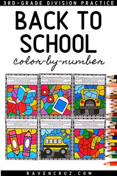 Start off back to school with these division color by number worksheets. Perfect for 3rd-grade and 4th-grade math. #mathwithraven 4th Grade Math Worksheets, Number Worksheets, Kindergarten Math, Fourth Grade Math, First Grade Math, Math Rotations, Math Centers, Homeschool Math, Homeschooling