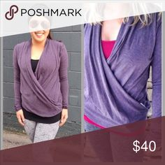 Lululemon long sleeve wrap top Pretty berry color. Side button. lululemon athletica Tops Tees - Long Sleeve