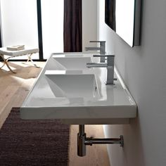 Bathroom Sink, Scarabeo 3006, Rectangular Double White Ceramic Self Rimming or Wall Mounted Bathroom Sink 3006