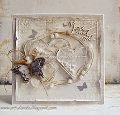 card heart hearts butterflubutterflies vintage shabby chic romantic, From Dorota Kopec in Stalowa Wola, Podkarpackie, POLAND. Valentine Love Cards, Mixed Media Cards, Shabby Chic Cards, Engagement Cards, Up Book, Butterfly Cards, Card Making Inspiration, Pretty Cards, Card Tags