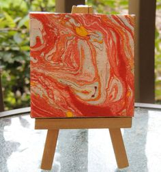 Red Abstract Design on Mini Canvas with matching Gold Easel! $10, OR pick your two favorites for 15