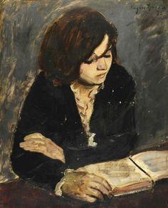 portraitist ❖ eugene spiro (wrocław, pologne I874 † new york I972) girl reading / peintre et graphiste allemand d'origine ashkénaze (sujet jeune femme lisant lecture livre palette noire obscure)