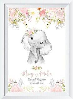 Baby Girl Elephant, Elephant Nursery, Elephant Print, Animal Nursery, Bedroom Prints Wall, Nursery Prints, Wall Art Prints, Wooden Hearts Crafts, Picture Gifts