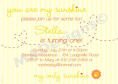 Custom You Are My Sunshine Birthday Invite  by madesignsandinvites, $12.00
