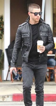 Jackets For Stylish Men. Jackets are a crucial part of every man's set of clothe. - Jackets For Stylish Men. Jackets are a crucial part of every man's set of clothes. Men will need - Leather Fashion, Leather Men, Mens Fashion, Black Leather Biker Jacket, Leather Jackets, Hommes Sexy, Crew Cuts, Nick Jonas, Hair And Beard Styles