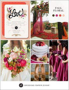 Play up the colors of the season for your fall wedding. Bright, berry hues combined with bold vermillion and soft blush are an updated take on traditional earth tones.