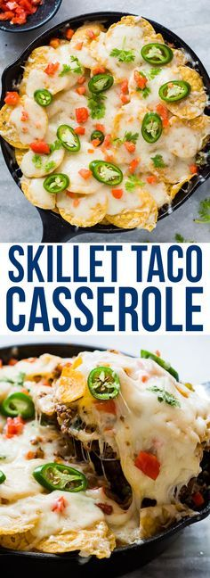 You are going to love this easy SKILLET BEEF and TACO CASSEROLE - ground meat, salsa, peppers, crunchy tacos and lots of melted cheese - it's the perfect recipe for dinner!