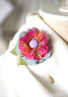 pink lapel pin flower