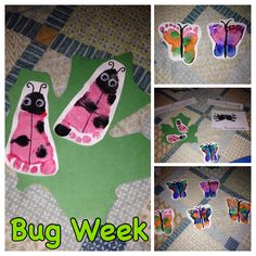 For bug week in the infant room we did lady bugs in green leaves, spiders in a yarn spider web, and butterflies flying! It was so cute!