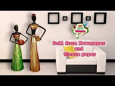 How to make doll from Newspaper and Tissue paper | African doll | diy craft ideas - YouTube