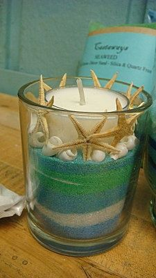 candles, drawing room, pretty, beach inspired, DIY, colored sand, starfish, marine