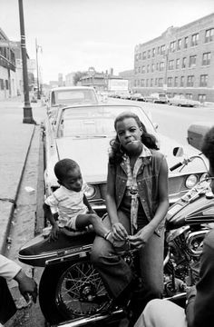 Life Magazine 1970's Woman and Child on Street USA with her motorbike