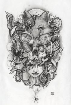 """Night terror"" by Amy Dowell #Tattoo #illustration #art"
