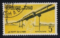 Chad Chari Bridge and Hippopotmus; Bridges, Stamps, Search, Hippopotamus, Seals, Searching, Postage Stamps