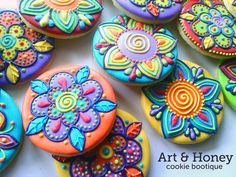 Spring is here | Cookie Connection Neon bright fantasy flower cookies by Art & Honey cookie bootique