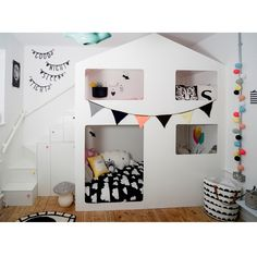 mommo design: HOUSE BEDS I like the stairs instead of ladder for bunk beds Cool Kids Bedrooms, Shared Bedrooms, Bedroom Kids, Ypperlig Ikea, Casa Kids, House Beds, White Rooms, Kid Beds, Bunk Beds