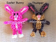 "Rainbow Loom EASTER BUNNY and THUMPER. Designed and loomed by MarloomZ Creations. Marlene said: ""...simply add bunny ears to my CareBear tutorial and you have a cute bunny ( MarloomZ Creations)."""