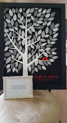 Wishwik Multi Wedding Tree | Guest Book Alternative | Modern Wedding | Customer Photo | Wedding Colors - Black, Gray, Red | peachwik.com