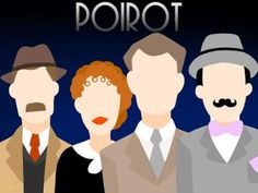 Japp, Miss Lemon, Hastings and Poirot fan art Agatha Christie's Poirot, Hercule Poirot, Death In The Clouds, Tv Detectives, Detective Series, Miss Marple, Cartoon Tv Shows, Beautiful Book Covers, Cozy Mysteries