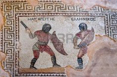 Fragment of ancient mosaic in Kourion, Cyprus