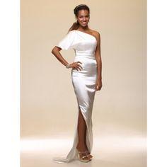 Elastic Woven Satin Sheath/ Column One Shoulder Floor-length Evening Dress inspired by Petra Nemcova – US$ 129.99
